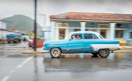 Vintage Car, rainy Day, Vinales, Cuba stock photo
