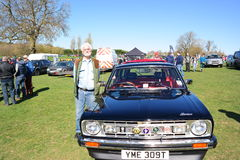 Vintage car rally 18 April 2015. Annual vintage MG Rover car rally held at Longbridge England after the Company went out of business in April 2005 Stock Photos