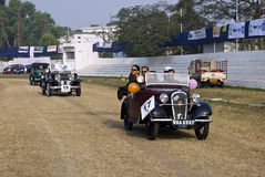 Vintage car rally in India stock photography