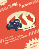 Vintage car rental flyer. Or leaflet design with space for text Royalty Free Stock Photo