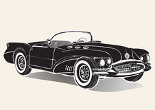 Vintage car. Retro black convertible without a roof with shadow, black and white drawing. Vector  illustration Royalty Free Stock Photos