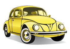 Vintage car. Retro cartoon yellow cars with shadow. Vector  illustration Royalty Free Stock Photo