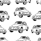 Vintage car seamless pattern, black and white retro cartoon background, coloring book, monochrome drawing.    cars on a  . For the Royalty Free Stock Images