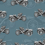 Vintage car seamless pattern, old retro black and white drawing machine, cartoon vector background. For the design of wallpaper, w Royalty Free Stock Photo