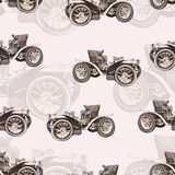 Vintage car seamless pattern, old retro drawing machine, cartoon vector background, monochrome. Illustration in style sepia. For t Stock Photo