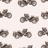Vintage car seamless pattern, old retro drawing machine, cartoon vector background, monochrome. Illustration in style sepia. For t Stock Images