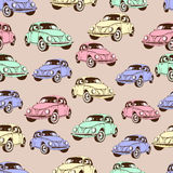 Vintage car seamless pattern, retro cartoon background. Multicolored cars on the beige . For the design of wallpaper, wrapper, fab Stock Photography