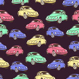 Vintage car seamless pattern, retro cartoon background. Multicolored cars on the beige . For the design of wallpaper, wrapper, fab Stock Photo