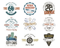 Vintage car service badges, garage repair labels and insignias collection. Retro colors design. Good for repair workshop Stock Image