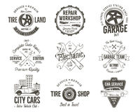 Vintage car service badges, garage repair labels and insignias collection. Retro colors design. Good for repair workshop Stock Photography