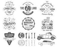 Vintage car service badges, garage repair retro labels and insignias collection. Included tire service icons and design royalty free illustration