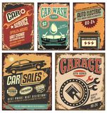 Vintage car service metal signs and posters. Cars ads and banners retro 20th century collection. Classic garage grunge metal signposts set. Old-fashioned road Royalty Free Stock Image