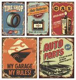 Vintage car service tin signs and posters on old rusty background