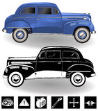 Vintage car set 3. Detailed vector Illustration of a vintage sport car, colored and black and white version, with transport symbols. Part 3 royalty free illustration