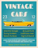 Vintage car show banner. Old auto. Cartoon vector illustration. Vintage car show. Old auto. Cartoon vector illustration. Event design. Poster or banner. For web Stock Photography