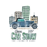 Vintage car show label design. Classic auto badge, insignia. Retro colors patch. Use as logo for repair workshop Stock Photo