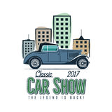 Vintage car show label design. Classic auto badge, insignia. Retro colors patch. Use as logo for repair workshop, cars Stock Photography