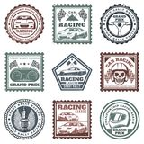 Vintage Car Sport Racing Stamps Set. With inscriptions automobiles steering wheel dashboard skull helmet spark plug flags isolated vector illustration Stock Photo