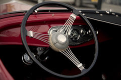 Vintage Car Steering Wheel & Dashboard Stock Photography