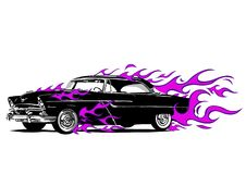 Vintage car surrounded by fire and purple flames vector illustration