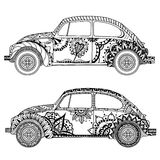 Vintage car in Tangle Patterns style Royalty Free Stock Images