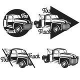 Vintage car tow truck emblems Stock Photo