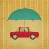 Vintage car under umbrella Royalty Free Stock Image