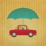 Vintage car under umbrella Royalty Free Stock Image