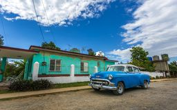 Vintage car, UNESCO, Vinales, Pinar del Rio Province, Cuba, West Indies, Caribbean, Central America stock images