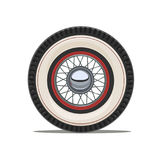 Vintage car wheel with spoke vector illustration. Vintage car wheel with spoke, isolated white background. Vector illustration Royalty Free Stock Photo