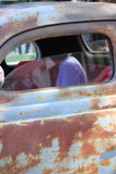 Vintage car window close up. Close up of window on old care with rusty finish Stock Images