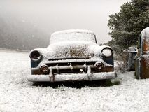 Vintage Car In Winter Stock Image