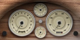 Vintage car wooden dashboard with retro gauges. 3d illustration. Vintage car wooden dashboard with retro gauges. Indications for speed, fuel, RpM, distance and Royalty Free Stock Image