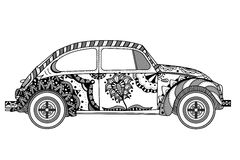 Vintage car in zentangle style Royalty Free Stock Photos