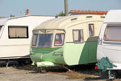 Vintage caravan park Stock Photo