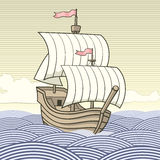 Old-time sailing ship Stock Photo
