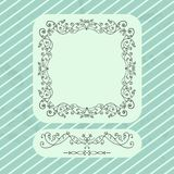Vintage Card. Vintage frame and elements with vintage backdrop with stripes, vector illustration Vector Illustration
