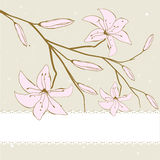 Vintage card with abstract lily flowers Stock Photography