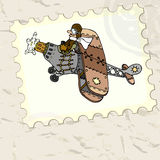 Vintage card with airplane Royalty Free Stock Images