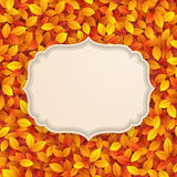 Vintage card on autumn leaves texture. Vector illustration Royalty Free Stock Images