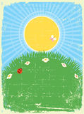 Vintage card background with summer landscape. Vector for text Royalty Free Stock Images