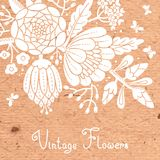 Vintage card with a blossoming branch. Royalty Free Stock Images