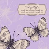 Vintage card with butterflies Stock Image