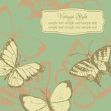 Vintage card with butterflies Stock Photos
