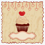 Vintage card with cake. Stock Images