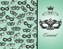 Vintage card with  carnival mask Royalty Free Stock Photography