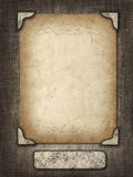 Vintage card in a carved frame on fabric background Royalty Free Stock Photography