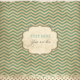 Vintage card with chevron background. And frame Stock Images