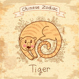 Vintage card with Chinese zodiac -�Tiger Royalty Free Stock Photography