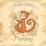 Vintage card with Chinese zodiac - Monkey Royalty Free Stock Images